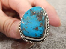 Bisbee Turquoise Sterling  Silver Mens Ring by Navajo Russell Sam Size 9 1/2