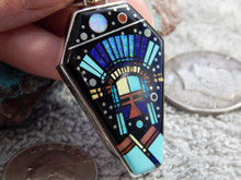 Sterling Jet Turquoise Mirco Inlay Pendant Navajo Calvin Begay Clayton Tom