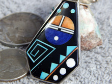 Sterling Silver Jet Turquoise Mirco Inlay Pendant Navajo Calvin Begay