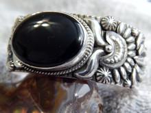 New Sterling Silver Cuff Bracelet Onyx By Navajo Darryl Becenti