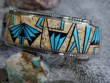 New Sterling Silver Turquoise Jasper Bracelet By Navajo Thomas Francisco