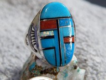 Mens Sterling Turquoise Multi Stone Inlay Ring Navajo Mary Lincoln Size 11 3/4