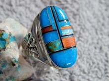 Mens Sterling Turquoise Multi Stone Inlay Ring Navajo Mary Lincoln Size 11 1/2