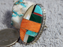 Ladies Sterling Silver Turquoise Multi Stone Inlay Ring Navajo Ray Jack Size 6