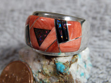 Sterling Mens Spiny Oyster Created Opal Inlay Ring Navajo Marty Yazzie Size 11