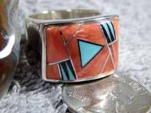 Sterling Turquoise Spiny Oyster Inlay Ring Navajo Marty Yazzie Size 10 1/4
