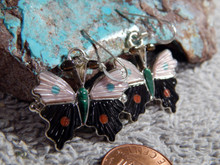 New Sterling Silver Turquoise Jet Butterfly Earrings By Zuni Tamara Pinto