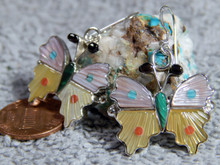 New Sterling Silver Turquoise MOP Butterfly Earrings By Zuni Tamara Pinto
