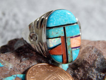 Mens Sterling Turquoise Multi Stone Inlay Ring Navajo M. Lincoln Size 10 3/4