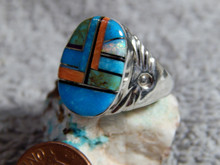 Mens Sterling Turquoise Multi Stone Inlay Ring Navajo M. Lincoln Size 11 1/2