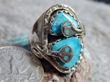 New Mens Silver Sterling Turquoise Snake Ring By Zuni Effie Calavaza Size 10