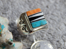 Light Weight Unisex Sterling Multi Stone Inlay Navajo Tommy Lincoln Size 7 1/2