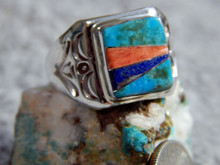 Light Weight Unisex Sterling  Multi Stone Inlay Navajo Tommy Lincoln Size 8 1/4