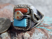 New Mens Silver Sterling Turquoise Coral Snake Ring Zuni Effie Calavaza Size 11