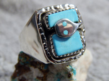 New Mens Silver Sterling Turquoise Snake Ring Zuni Effie Calavaza Size 10