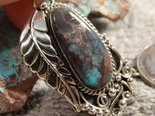 Smokey Bisbee Turquoise Sterling Silver Feather  Pendant Navajo Geraldine James