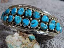 Light Weight Sterling Bracelet Sleeping Beauty Turquoise Navajo Anita Whitegoat