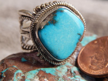 Bisbee Turquoise Sterling Silver Unisex Ring Navajo Russell Sam Size 7 1/4