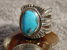 Bisbee Turquoise Sterling Silver Unisex Ring Navajo Russell Sam Size 6
