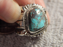 Bisbee Turquoise Sterling Silver Unisex Ring Navajo Russell Sam Size 5 1/4