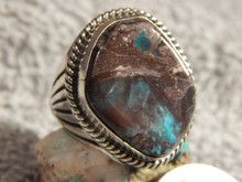 Bisbee Turquoise Sterling Silver Mens Ring by  Navajo Russell Sam Size 11 1/4