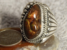 New Mens Sterling Silver Fire Agate Ring by Navajo Russell Sam Size 11 1/4