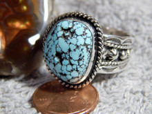 Mens Black Web Turquoise Sterling Silver Ring by Navajo Russell Sam Size 14 1/4