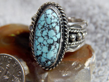 Mens Black Web Turquoise Sterling Silver Ring by Navajo Russell Sam Size 8 1/4