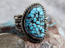 Black Web Turquoise Sterling Silver Unisex Ring by Navajo Russell Sam Size 6 1/4