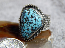Black Web Turquoise Sterling Silver Unisex  Ring by Navajo Russell Sam Size 7 1/4