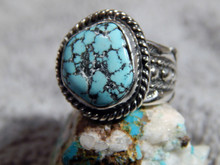 Black Web Turquoise Sterling Silver Unisex  Ring by Navajo Russell Sam Size 51/2