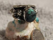 Bisbee Turquoise Ladies Sterling Silver Ring Navajo Robert Shakey Size 4 1/4