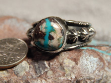 Bisbee Turquoise Ladies Sterling Silver Ring Navajo Robert Shakey Size 11