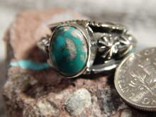 Bisbee Turquoise Ladies Sterling Silver Ring Navajo Robert Shakey Size 5 3/4