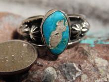 Bisbee Turquoise Ladies Sterling Silver Ring Navajo Robert Shakey Size 10