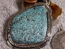 New Kingman Turquoise Black Web Sterling Silver  Pendant Navajo Russell Sam