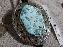 New Ma'anshan Chinese Turquoise Sterling Silver Bolo By Navajo Russell Sam