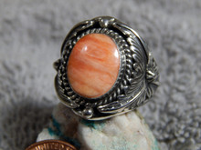 Mens Sterling Silver Spiny Oyster Ring By Navajo Patrick Yazzie Size 8 1/4