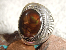 Mens Sterling Silver Fire Agate Longhorn Ring by Navajo Russell Sam Size 10 1/2