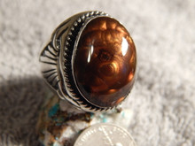 Mens Sterling Silver Fire Agate Longhorn Ring by Navajo Russell Sam Size 15