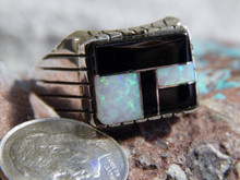 Mens Sterling  Silver Created Opal Jet Inlay Ring Navajo Ray Jack Size 13