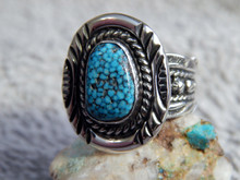 Black Web Turquoise Sterling Silver Unisex  Ring Navajo Russell Sam Size 8 1/4