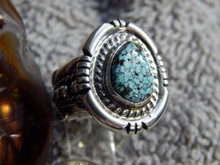 Black Web Turquoise Sterling Silver Unisex  Ring Navajo Russell Sam Size 6 1/4