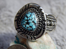 Black Web Turquoise Sterling Silver Mens Ring Navajo Russell Sam Size 9 1/2
