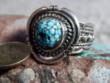Black Web Turquoise Sterling Silver Mens Ring  Navajo Russell Sam Size 11 1/2