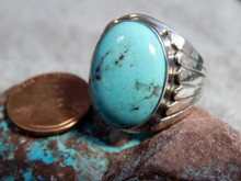 Mens Sterling Kingman Stabilized Turquoise Ring Navajo Lorenzo James Size 9 1/4
