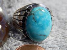 Mens Sterling Kingman Stabilized Turquoise Ring Navajo Lorenzo James Size 14 1/4
