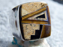 Sterling Jasper Tigers Eye Inlay Mens Ring Navajo Tully Gustine Size 11 1/4