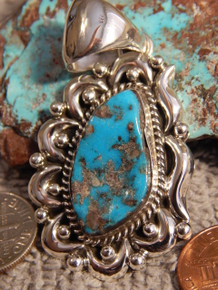 Bisbee Turquoise  Sterling Silver Repoussé Pendant By Navajo Geraldine James
