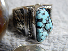 Mens Sterling Silver Spiderweb Turquoise Ring Navajo Geraldine James Size 13